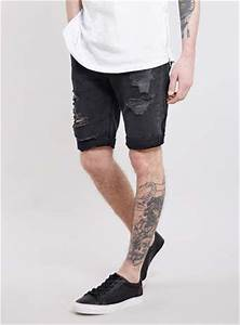 Black Ripped Denim Shorts - Menu0026#39;s Shorts - Clothing ...