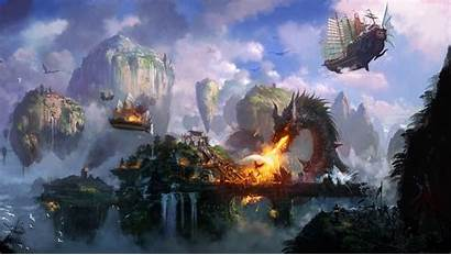 Fantasy Dragon Fire Wallpapers Temple Ships Flying
