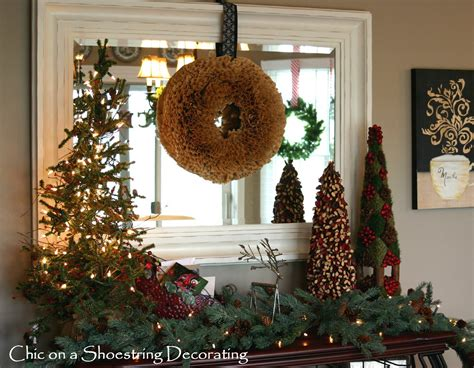 rustic christmas decor chic on a shoestring decorating a rustic christmas vignette