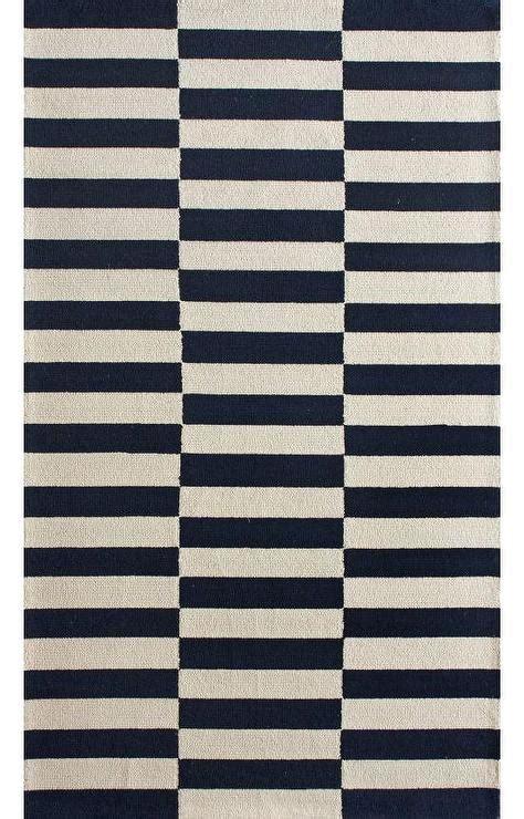 white and navy rug homespun navy white stripe blocks rug