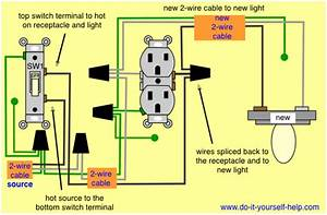 Wiring Diagram To Add A Light Fixture To A Switched Receptacle In 2019