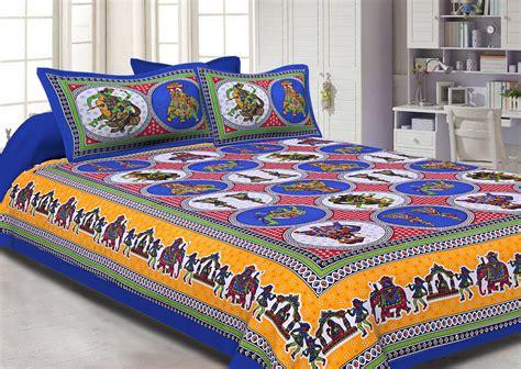 blue base jaipur doli design  elephant print double