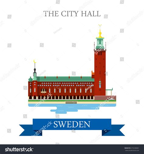 City Hall In Stockholm Sweden. Flat Cartoon Style Historic