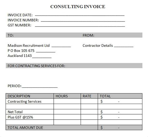 sample consulting invoice  documents  word