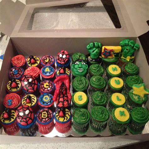 spiderman hulk cupcakes bake  face  pinterest