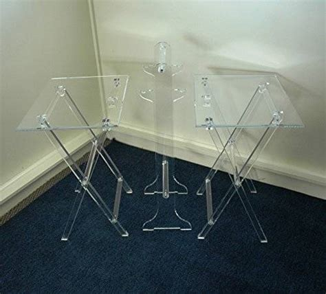 clear acrylic lucite set of 2 folding tv snack