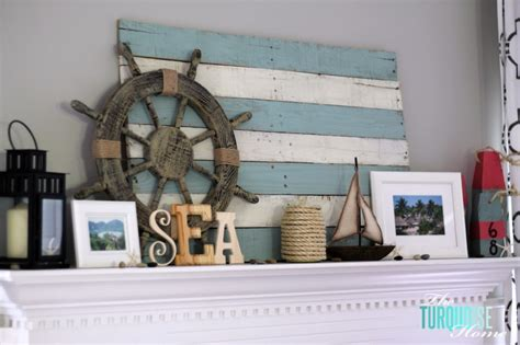 summer lake themed mantel  turquoise home