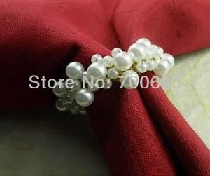 White pearl napkin ring beaded wedding napkin ring cheap for Cheap wedding napkin rings