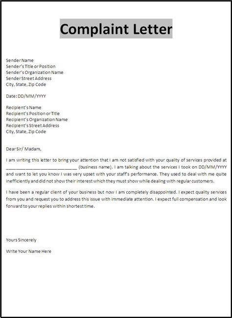 printable sample customer complaint response letter