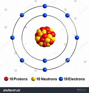 3d Render Atom Structure Neon Isolated Stock Illustration 612892691