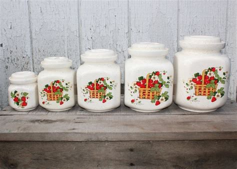 Vintage Kitchen Canisters by Set Of 5 Vintage Kitchen Canisters Strawberry Canisters