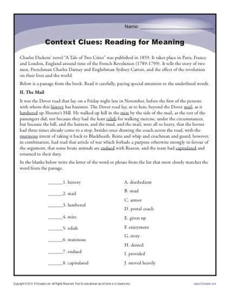 context clues worksheets choice pdf context