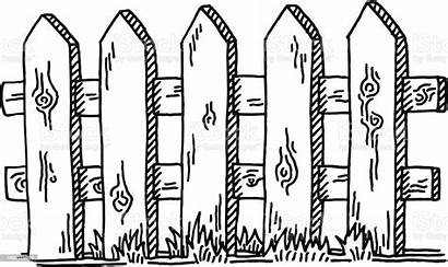 Fence Drawing Wooden Vector Illustration Graphics Istock