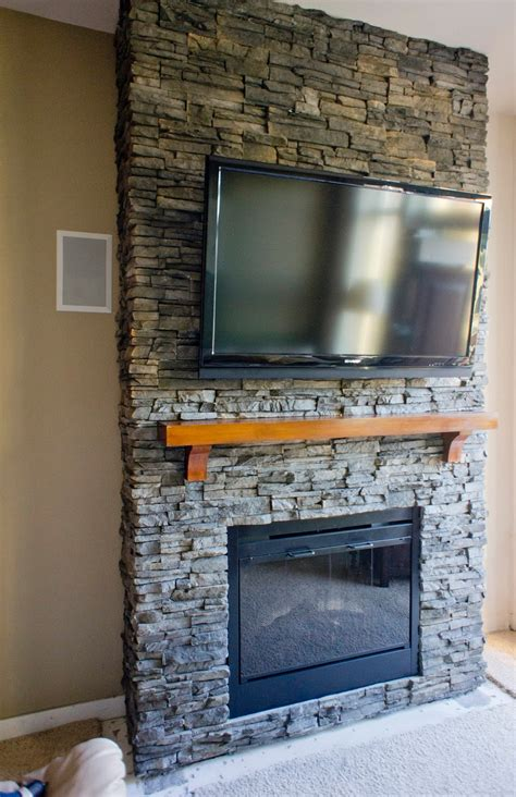 Hirondelle Rustique Diy Stacked Stone Fireplace (first