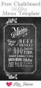 Chalkboard wedding menu free template gardens potato salad and wedding for Chalkboard sign template