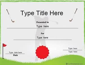 Golf Certificate Template Free Certificate Street Free Award Certificate Templates No