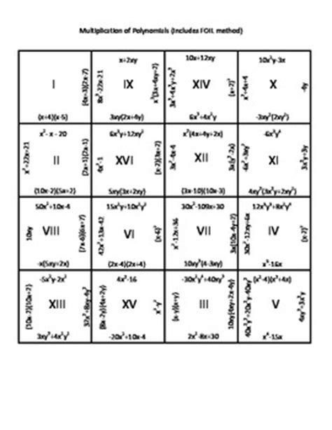 polynomial puzzle worksheet multiplication of polynomials puzzle includes foil method by the gurgals