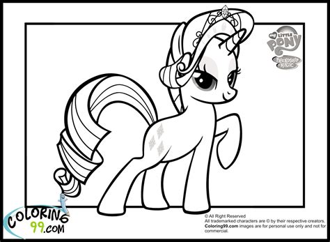 pony rarity coloring pages team colors