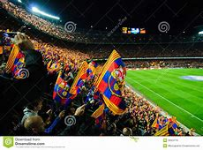 FC Barcelona Football Match Stands Scenery With Flags