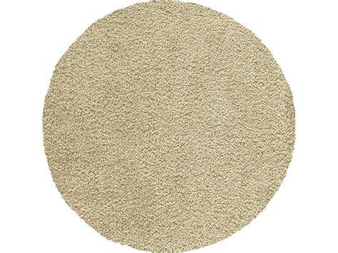 tapis rond d 120 cm shaggy coloris beige le fait main