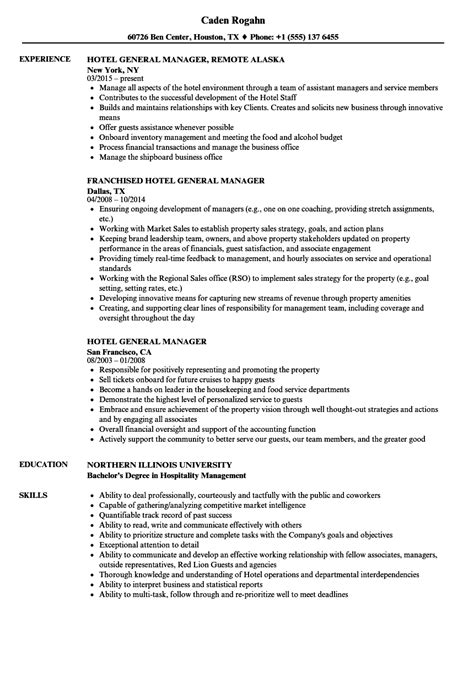 Hotel General Manager Resume Samples | Velvet Jobs