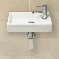 Small White Undermount Bathroom Sink by Cheri Cloakroom Wall Mounted Basin 40x20x10cm Hugo Oliver