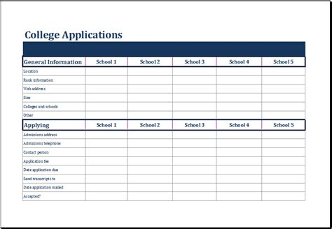 college selection spreadsheet ms excel college comparison worksheet template excel