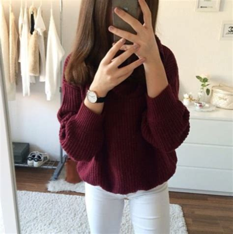 Sweater red burgundy winter outfits tumblr tumblr outfit tumblr clothes sweater weather ...
