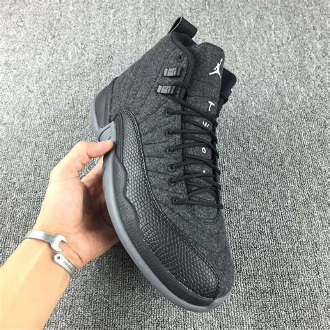 Air Jordan 12 Wool Grey Silver Black - Sneaker Bar Detroit