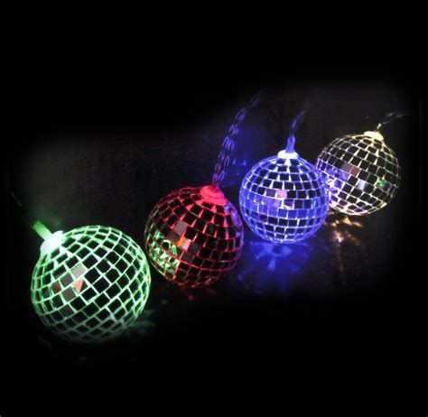 Disco Balls String Lights   10 Mini Light Up Glass Mirror