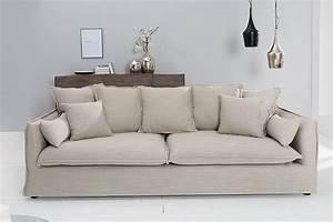 3er Couch : gro es hussensofa heaven leinenstoff in beige 3er sofa ~ Pilothousefishingboats.com Haus und Dekorationen