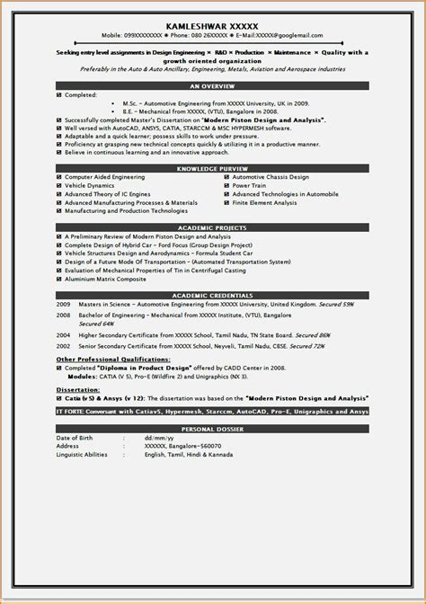 msc biotechnology fresher resume format 28 images