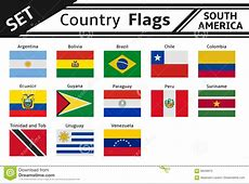 Countries Flags South America Stock Vector Illustration