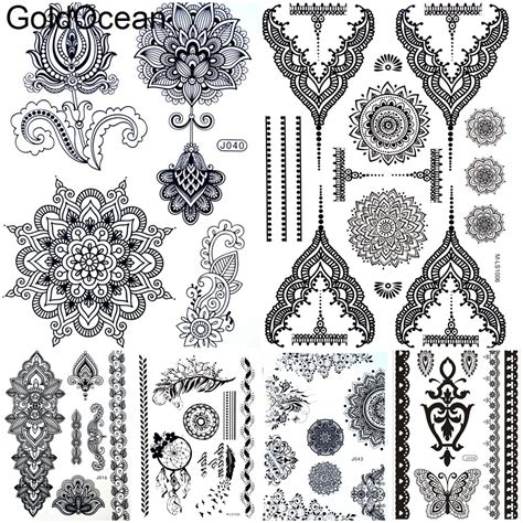 black henna mandala flower temporary tattoo stickers