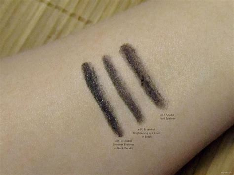 elf eyeliner swatches shimmer eyeliner  black bandit