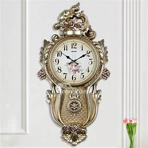 Large, Wall, Clocks, Decorative, Floral, Silver, White, Silent, Pendulum, Country