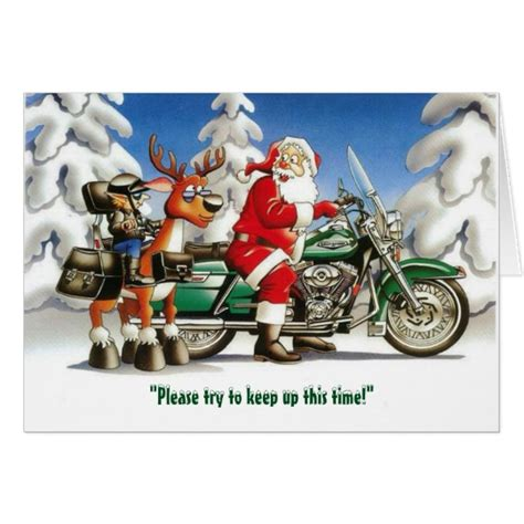 funny motorcycle santa reindeer christmas card zazzle com
