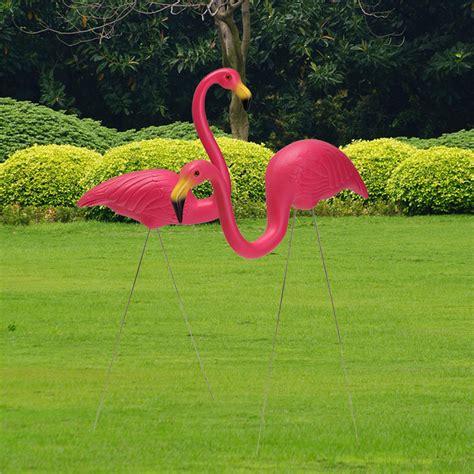 2pcs pink flamingo plastic yard garden lawn ornaments