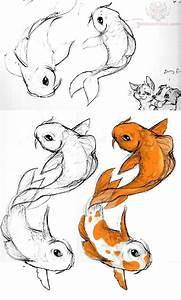 Drawn koi fish side view - Pencil and in color drawn koi ...