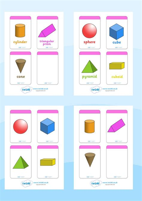 twinkl resources gt gt 3d shape flashcards gt gt printable