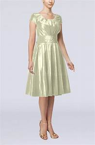cream simple a line scoop short sleeve taffeta knee length With cream dresses for a wedding guest