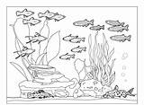Aquarium Coloring Fish Pages Tank Community Underwater Sea Printable Water Nature Fishes Animals Fall Sheets Whith Cat Preschool Ocean Fresh sketch template