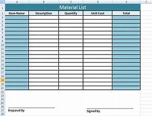 get material list template in excel microsoft excel With construction material list template