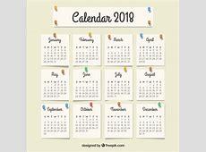 Calendário 2018 com notas Baixar vetores grátis