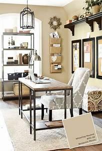 Home Office : home office with ballard designs furnishings benjamin moore wheeling neutral paint color http ~ Watch28wear.com Haus und Dekorationen