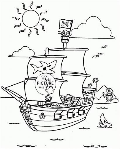 Pirate Ship Coloring Cartoon Pages Pirates Transportation
