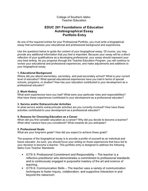 Autobiography Example Essay Essay Writing Online Free Bibliography