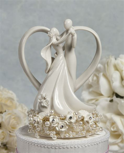 vintage rose pearl and heart wedding cake topper wedding