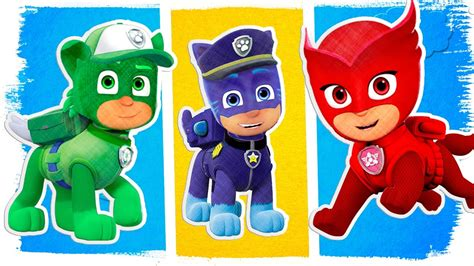 pj masks  paw patrol fun coloring pages learn colors