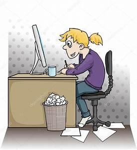 Girl working hard on a computer — Stock Vector © marija92 ...